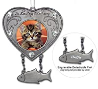 Cat Bereavement Remembrance Memorial Photo Ornament and Heart Shaped Stand