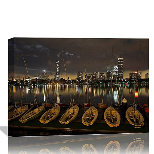 Eden Art (12''x16'') Modern Boston Dark Skies City Night Skyline Pictures Prints on Canvas Wall Paintings, Stretched and Wooden Framed Landscape Artwork for Walls Home Office Decor,Ready to Hang (Boston Skyline Painting compare prices)