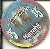 $5 harrahs prairie band 1 year anniversary casino chip mayetta kansas vintage