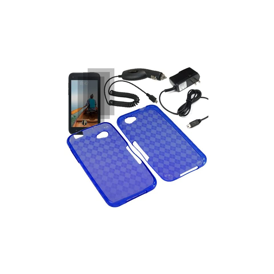BW TPU Sleeve Gel Cover Skin Case for AT&T HTC First x3 Fitted Screen Protector + Car Charger + Home Charger  Blue Checker Cell Phones & Accessories