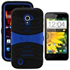 MINITURTLE, Premium Durable Rugged Shell Hybrid Protective Phone Case Cover with Built in Kickstand and Clear Screen Protector Film for Prepaid Straight Talk Android Smartphone ZTE Majesty Z796C /Verizon (Black / Blue)