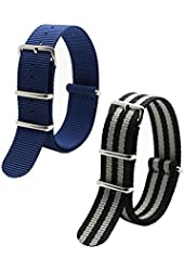 2PC 20mm Nato Ss Nylon Striped Black / Grey,Navy Blue Interchangeable Replacement Watch Strap Band
