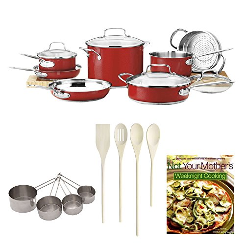 Cuisinart CSS-11MR Chef's Classic Stainless Color Series 11-Piece Set (Red 2013 Model) Bundle with 4-pc Kitchen Tools+ Measuring Cups + Not Your Mother's Weeknight Cooking