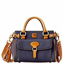 Dooney & Bourke Medium Pocket Satchel w/ Tan Trim, Navy