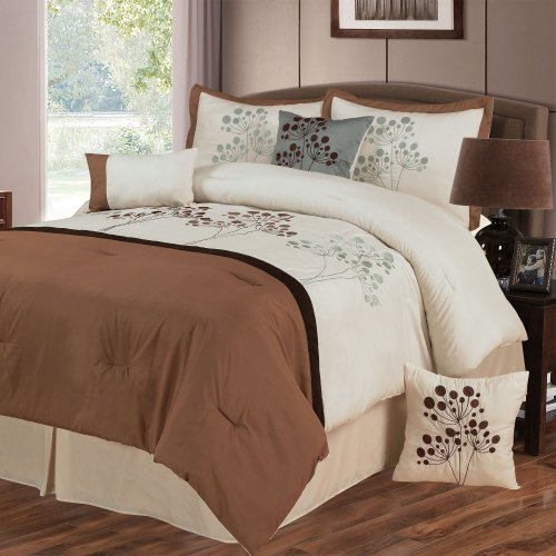 Lavish Home Brooke 7-Piece Embroidered Comforter Set, Queen front-603737