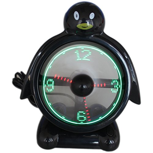 Ruishengda Penguin Shape Usb Clock Fan With Real Time Display, Black