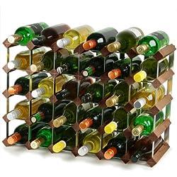 Traditional Wooden Wine Rack - Dark Oak - 4x6 Hole [30 Bottles] | Wine Bottle Rack