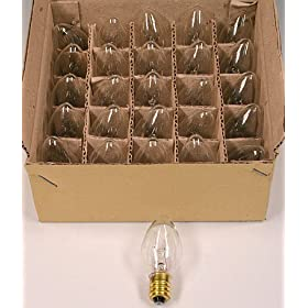 Box of 25 Light Bulbs -C7 - Clear - 7 Watt - Candelabra Base -Great for Night Lights and Christmas Strings