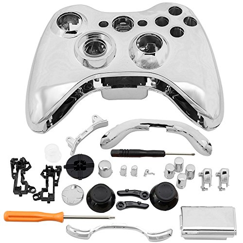 Super Custom Replacement Wireless Game Controller Shell Case Cover Kit for Xbox 360 - Includes Button Set, Torx & Phillips Head Screwdrivers (Silver) (Custom Controller Covers compare prices)