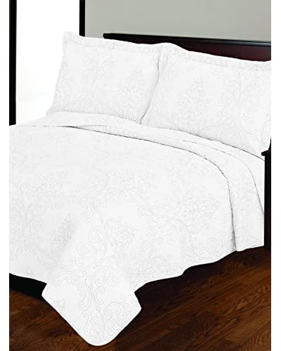 Mélange Home Victoria Embroidery Cotton Quilt Full/Queen Set, White