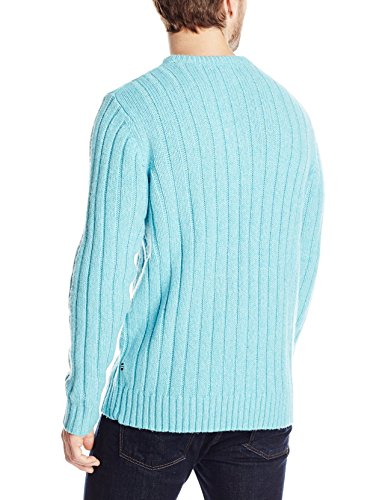 Nautica Men's Rib Crew Sweater, Cashmere Aqua, Large
