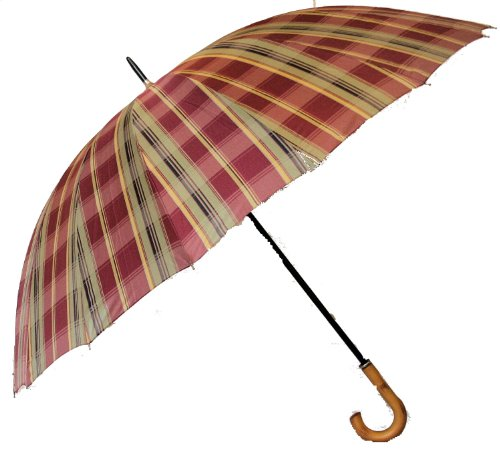 Jani Markel Mens Tartan Golf - Walking Umbrella Claret/Green
