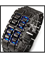 AINFOTECH Iron Samurai Steel Blue LED Digital Watch Cum Bracelet For Men & Women