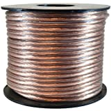 GLS Audio Premium 16 Gauge 100 Feet Speaker Wire - True 16AWG Speaker Cable 100ft Clear Jacket - High Quality 100
