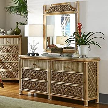 Mandalay Natural Wicker Rattan 6 Drawer Dresser Bedroom Furniture Set from Spice Islands - FREE SHIPPING