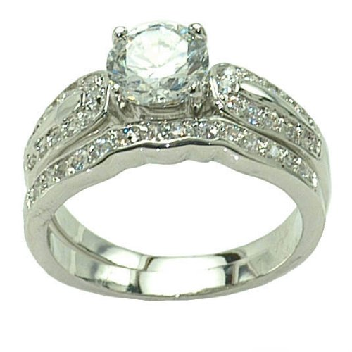 Wedding Set Clear CZ Rings SR7913