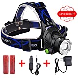 LED Headlamp, VCOO Super Bright LED Head Lamp, Waterproof Hands-free Headlight with Rechargeable Batteries for Camping, Hiking, Fishing, Riding, Hunting