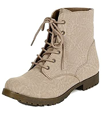 Excellent Grunge Military Combat Boots Vintage Lace Up Ankle Bootie