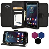 DROID Turbo Case, Abacus24-7 DROID Turbo Wallet Case [Book Fold] Leather Motorola DROID Turbo Flip Cover with...