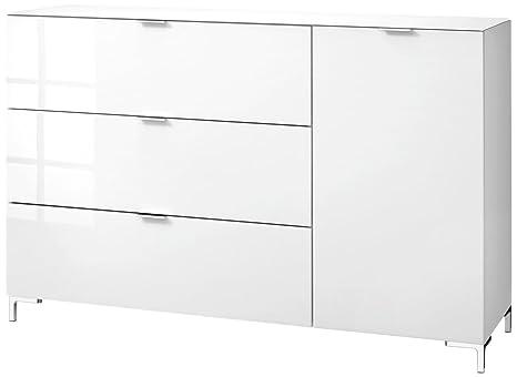 CS Schmalmöbel 45.012.505/031 Highboard Cleo Typ 15, 163 x 50 x 108 cm, weiß / weißglas