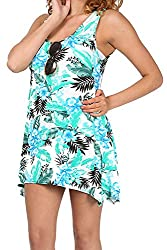 Womens Ladies Printed Scoop Neck Ruched Sleeveless Flared Vest Swing Dress Top from Oops Outlet