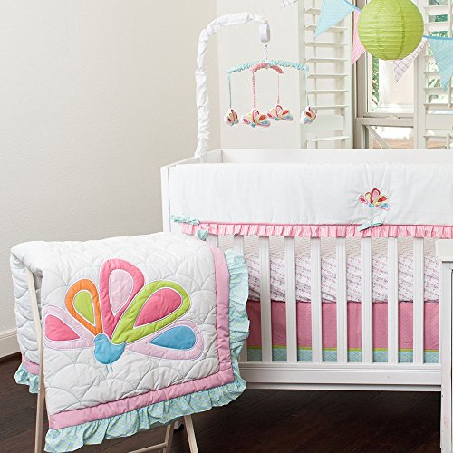 Pam Grace Aqua Peacock 10 pc. Crib Bedding Set - 1