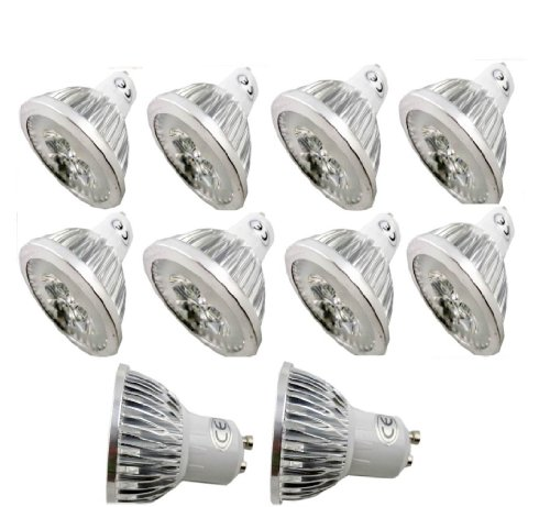 Lenbo 10Pcs/Lot Led Gu10 Bulb 4W High Power Lamp Light Spotlight Cool White Warm White 3000K 6000K 60 View Degree Beam Angle 400Lumen - 50Watt Equivalent Ultra Bright Ship From Usa (Warm White)