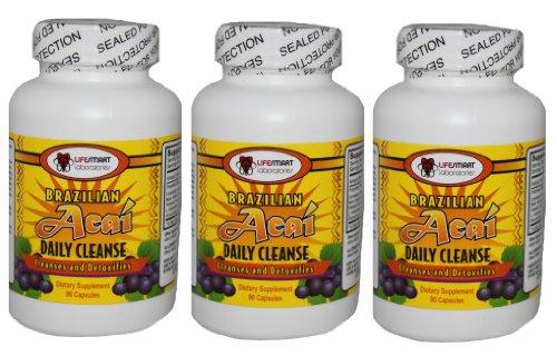 Brazilian Acai Daily Cleanse- 270 caps, 3 Months Colon Cleanse, energize, Detox weight loss with 1 Billion Probiotics Lactobacillus Acidophilus