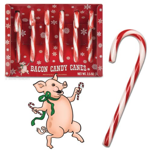 Bacon Candy Canes - 1 Box of 6 Candy Canes