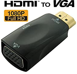 """Cables Kartâ""""¢1080P HDMI to VGA Converter Adapter Dongle with 3.5mm Audio for Laptop PC Projector HDTV PS3 Xbox STB Blu-ray DVD - BLACK"""