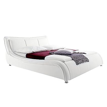 Imbottitura moderno letto in similpelle bianca 160 + 180 x 200 cm giardino letto matrimoniale letto, Finta pelle, bianco, 180 x 200 cm