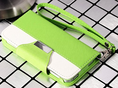 Mylife (Tm) Bright Green And White Modern Design - Textured Koskin Faux Leather (Card And Id Holder + Magnetic Detachable Closing) Slim Wallet For Iphone 5/5S (5G) 5Th Generation Smartphone By Apple (External Rugged Synthetic Leather With Magnetic Clip + front-49411