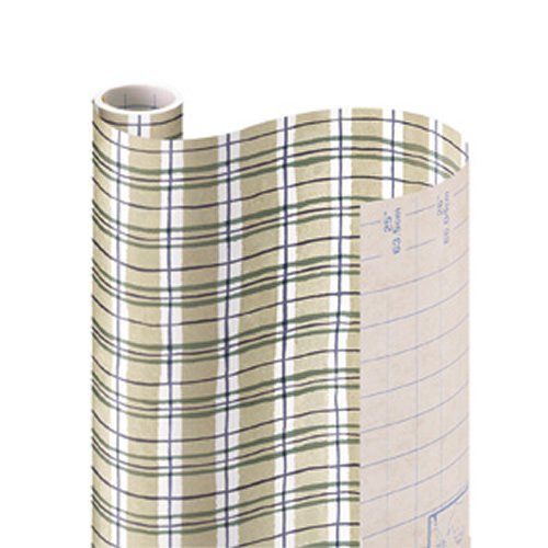 "Con-Tact Brand Creative Covering Self-Adhesive Shelf Liner, Khaki Plaid,  18""x 9'"