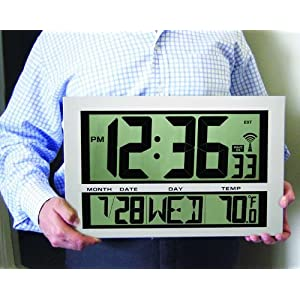 MARATHON CL030025 Commercial Grade Jumbo Atomic Wall Clock with 6 Time Zones, Indoor Temperature & Date - Batteries Included