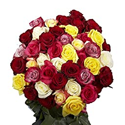 Mother\'s Day Flowers | Fresh Cut 50 Assorted Roses |25 Red Roses and 25 Only One Color Roses