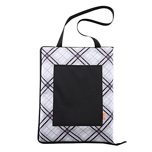 Yodo Water-Resistant Acrylic Picnic Blanket Tote with Zipper Closed, Black/white Plaid