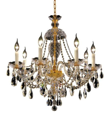 Elegant Lighting 7829D26G/Rc Alexandria 28-Inch High 7-Light Chandelier, Gold Finish With Crystal (Clear) Royal Cut Rc Crystal front-892957