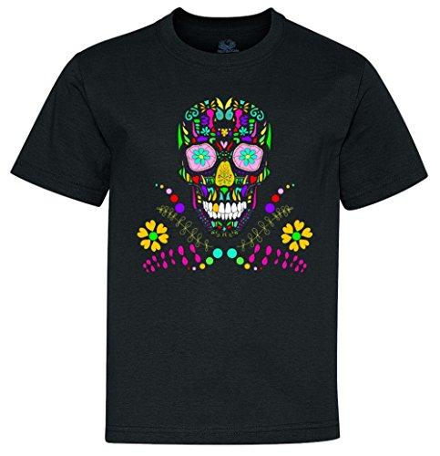 Day of The Dead Skull Flower Glasses Youth T-Shirt limegreen Small (8) yTP9879468