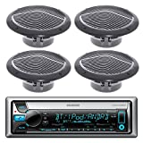 "New Kenwood KMR-D765BT Bluetooth CD MP3 Marine Boat Yacht Bike AUX USB iPod iPhone Radio Player Stereo Receiver, 4 X 6.5"" Inch Black Marine Audio Speakers System - Great Marine Outdoor Stereo Package"