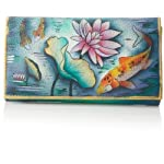 Anuschka Genuine Leather Hand Painted Clutch Wallet (Enchanted Fairy Forest)