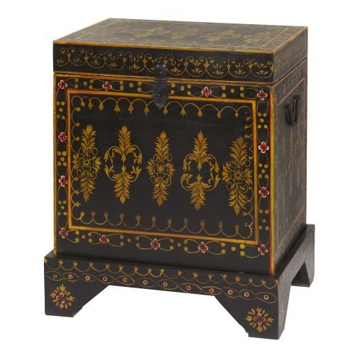 Footed Wooden Red Hand Painted Trunk In Mango Wood
