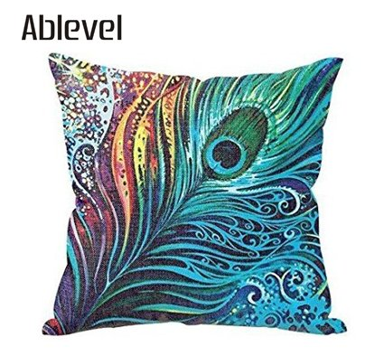 Ablevel-Beautiful-Peacock-Personalized-Square-Cotton-Blend-Throw-Pillow-Case-Decor-Cushion-Covers-Blue