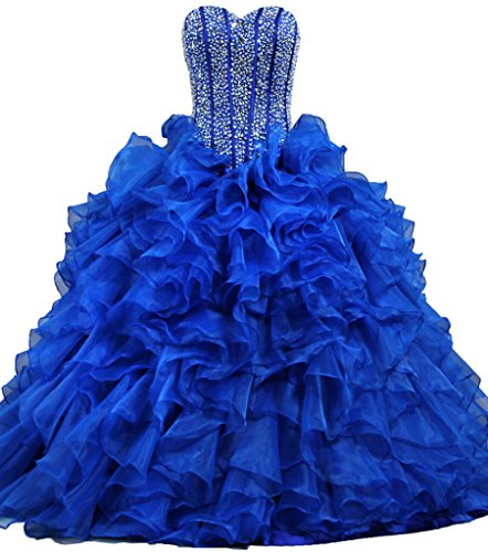 ANTS Women's Ruffles Dazzling Long Quinceanera Dress Ball Gown Prom Dresses Size 2 US Royal Blue (Blue Quinceanera Dresses compare prices)