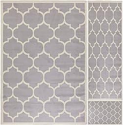 Ottomanson Paterson Collection Contemporary Moroccan Trellis Design Lattice Area Rug, Grey