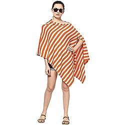 Pluchi Fashion Knitted Cotton Poncho Elena-Vibrant Paprika / Cool Grey