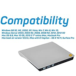 Qable Powerz 6484273 USB 3.0 External Slot VCD CD RW Superdrive SATA CD DVD Drive / CD Burner for select Models