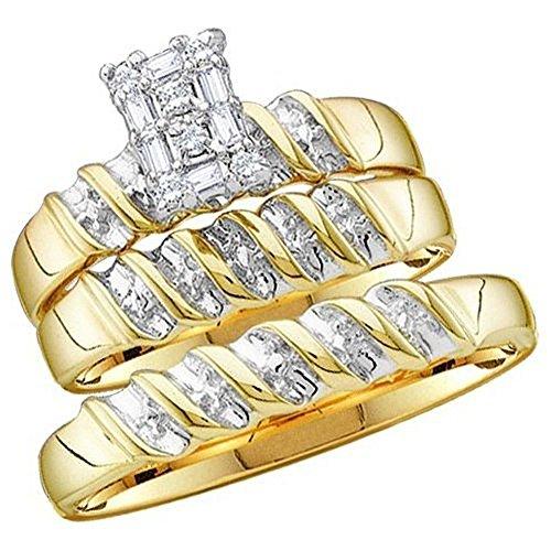 005-Carat-ctw-14K-Yellow-Gold-Round-Diamond-Men-Ladies-Trio-Set