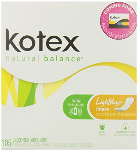 Kotex Lightdays Long Unscented Liners-105 ct