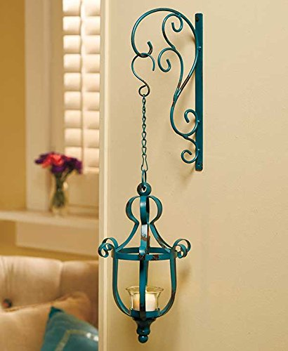 Distressed Turquoise Teal Vintage Style Metal Decorative Wrought Iron Hanging LED Candle Lantern Sconce Home Accent Decoration