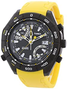 Timex Men's Expedition T49796 Yellow Resin Quartz Watch with Black Dial
